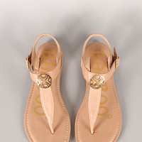 Bamboo Warner-61Y Coin Ornament T-Strap Flat Sandal