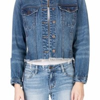 Cropped Distressed Jean Jacket