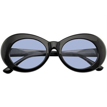 Retro Round 1990's Fashion Clout Goggle Oval Color Tone Black Sunglasses