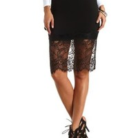Lace-Trimmed Bodycon Midi Skirt by Charlotte Russe
