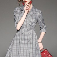 Double Breasted Plaid Skater Dress