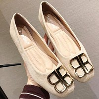 Balenciaga double B letter metal buckle female flat flat comfortable anti-single shoes Apricot