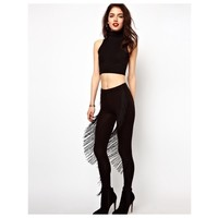 Black Fringe Leggings Tassel Stretch Pants S Xs