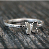 Tiny Butterfly Stacking Ring, Sterling Silver Insect Ring, Stacking Jewelry, Lucky Charm Jewelry, Sterling Silver Butterfly Ring, Bug Ring