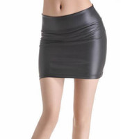 Women Sexy Bodycon Mini Skirt Faux Leather Zip High Wasit Skirt S-3XL
