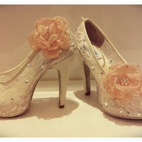 Lace wedding shoes with Pearls and Rhinestones embellishment and clip on flower