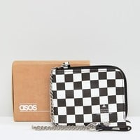 ASOS Faux Leather Zip Around Wallet In Checkerboard Print at asos.com