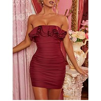 fhotwinter19 Women's New Fashion Ruffled Strapless One-line Collar Hip Dress