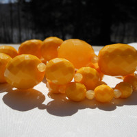 Chunky Necklace Lemon Yellow Large Faceted Beads Lucite Jewelry Nylon Cord 28 Inch Adjustable Chain Rockabilly Pin Up Summer Vintage Plastic