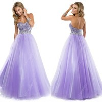 This Shining Ball Gown Princess Strapless 2015 Prom Dress With Beads and sequins Plus Size-in Prom Dresses from Apparel & Accessories on Aliexpress.com | Alibaba Group