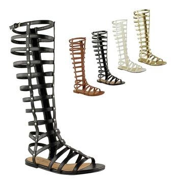 Fashion Thirsty Womens Cut Out Gladiator Sandals Flat Knee Boots Strappy Size