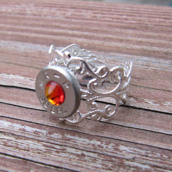 38 Special Bullet Ring with Fire Opal Swarovski Crystal Accent - Small Thin Cut - Girls with Guns