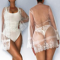 Sexy stitching eyelashes lace suit temptation see-through dew point underwear + straps long sleeves four-piece suit