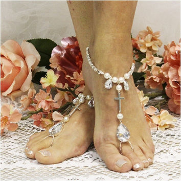 PROMISE cross barefoot sandals wedding