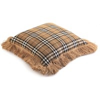 Brown Plaid Fringe Throw Pillow
