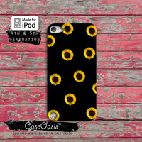 Sunflower Pattern Flower Tumblr Inspired Love Cute Custom Case iPod Touch 4th Generation or iPod Touch 5th Generation Rubber or Plastic Case