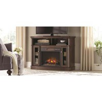 Home Decorators Collection Tolleson 48 in. Media Console Infrared Bow Front Electric Fireplace in Mocha 95575 at The Home Depot - Mobile
