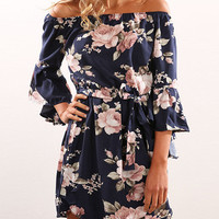 Casual Boho Off The Shoulder Floral Print Dress
