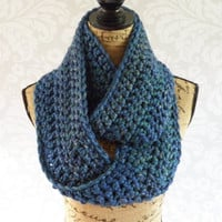 Ready To Ship Infinity Scarf Crochet Knit Peacock Blue Green Purple Gold Women's Accessories Eternity Fall Winter
