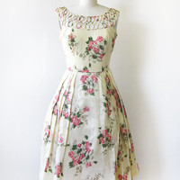 1950s dress / vintage 50s floral party dress / pink and cream wedding dress