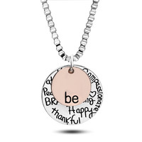 """YAN & LEI Hot Sale Two-Tone Sterling Silver """"Be"""" Graffiti Charm Necklace, 22"""""""