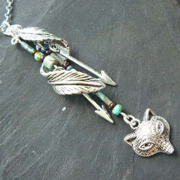 wolf necklace woodland necklace tribal necklace elfin necklace