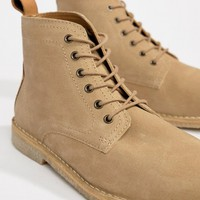 ASOS DESIGN Wide Fit Desert Boots In Stone Suede With Leather Detail at asos.com