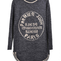 Premier Jour Paris Print Long Sleeve Striped Bottom Knitted Pullover