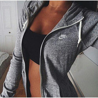 """NIKE""Autumn Leisure Women Hooded Sweatshirt Sweater Jacket"