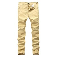Men Cotton Slim Fit Personality Ripped Jeans