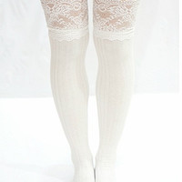Vanity Floral Lace Knit Thigh High Socks (More Colors)