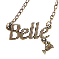 Disney Beauty And The Beast Belle Nameplate Necklace