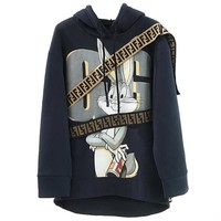 FENDI Autumn Winter New Women Men Casual Cute Rabbit Print Long Sleeve Hoodie Velvet Sweater Top Sweatshirt
