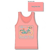 Sassy Frass Life's a Beautiful Ride Bicycle Flowers Comfort Colors Bright Tank Top T Shirt