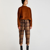 Checked paperbag trousers - Trousers - Clothing - Woman - PULL&BEAR United Kingdom