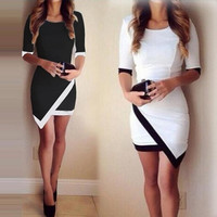 Women Vestidos Casual Bandage Bodycon Dress Ladies O-neck Half Sleeve Asymmetric Patchwork Elegant Short Mini = 1695858308