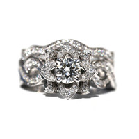 LOVE In BLOOM - Flower Rose Diamond Engagement Ring and Wedding band set - 1.85 carats - 14K white gold - custom made - fL03-S