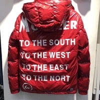 MONCLER winter fashion White goose Down jacket red