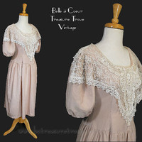 1980s Vintage Dress Pink Romantic Victorian Style with Lace and Puffy Sleeves Small