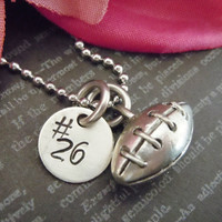 ON SALE-Personalized Hand Stamped Jewelry-Mother Necklace-Mommy Necklacke-Personalized Jewelry -Custom Jewelry-Football Charm