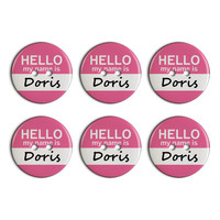Doris Hello My Name Is Plastic Resin Button Set of 6