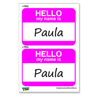 Paula Hello My Name Is - Sheet of 2 Stickers