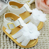 Baby Girl Summer White Flower Infant Soft Sole Princess Shoes Girls First Walkers 0-18 Months SHM3
