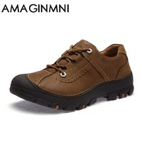 AMAGINMNI Autumn Men Boots 2017 New Breathable Shoes Male Casual Waterproof Non-Slip Shoes Man Genuine Leather Shoes Casual