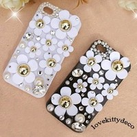 LOVEKITTY DIY 3D 8 pieces Daisy Flowers Bling Cell Phone Case Resin Flat back Kawaii Cabochons Deco Kit / Set (not a finished product)