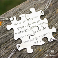 Puzzle Necklaces for 4 friends, best friends, personalized jewelers, necklaces, puzzle charms, family