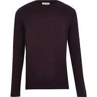 River Island MensDark red ribbed long sleeve sweater