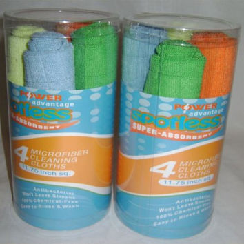 2 Set of 4 Spotless Super Absorbent Microfiber Cleaning Cloths Antibacterial NEW