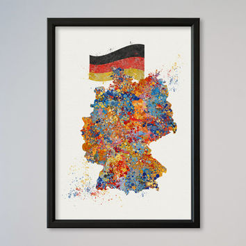 Map Germany Map Watercolor Poster Wall Art Decor Fine Art Giclee Print Gift Home Decor Wall Hanging Deutschland Flag Banner