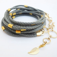 Grey cotton cord with gold plated tube beads - 3X wrap bracelet